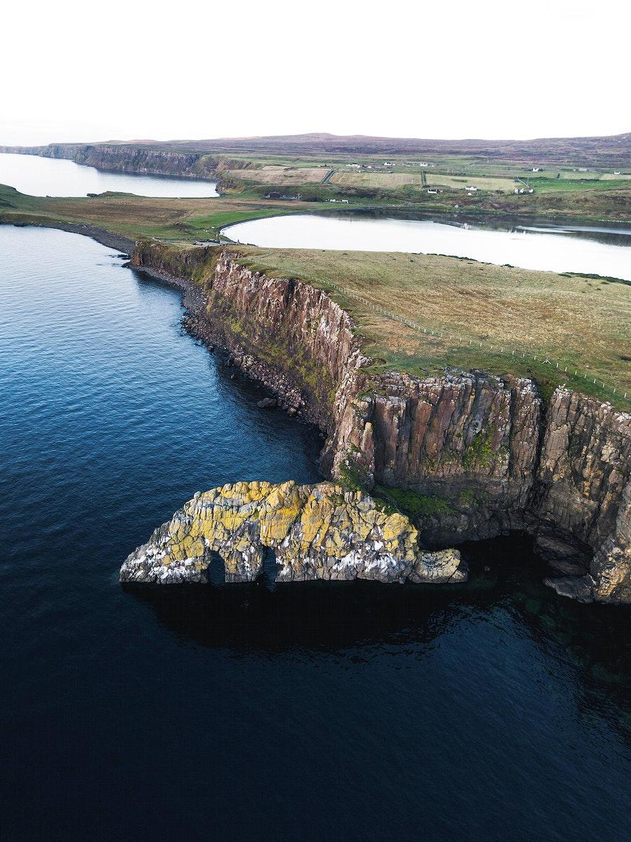 Isle of Skye at Scotland drone shot
