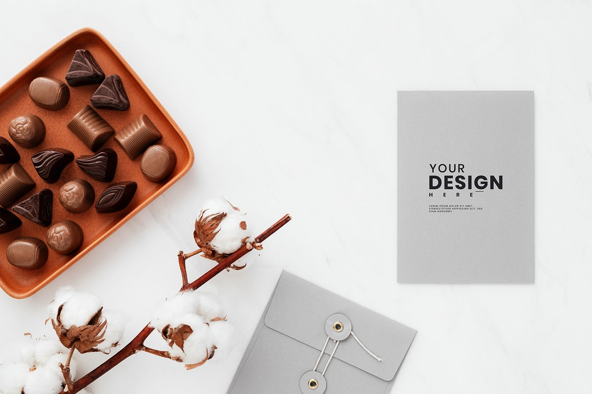 Valentines day chocolate by a card mockup