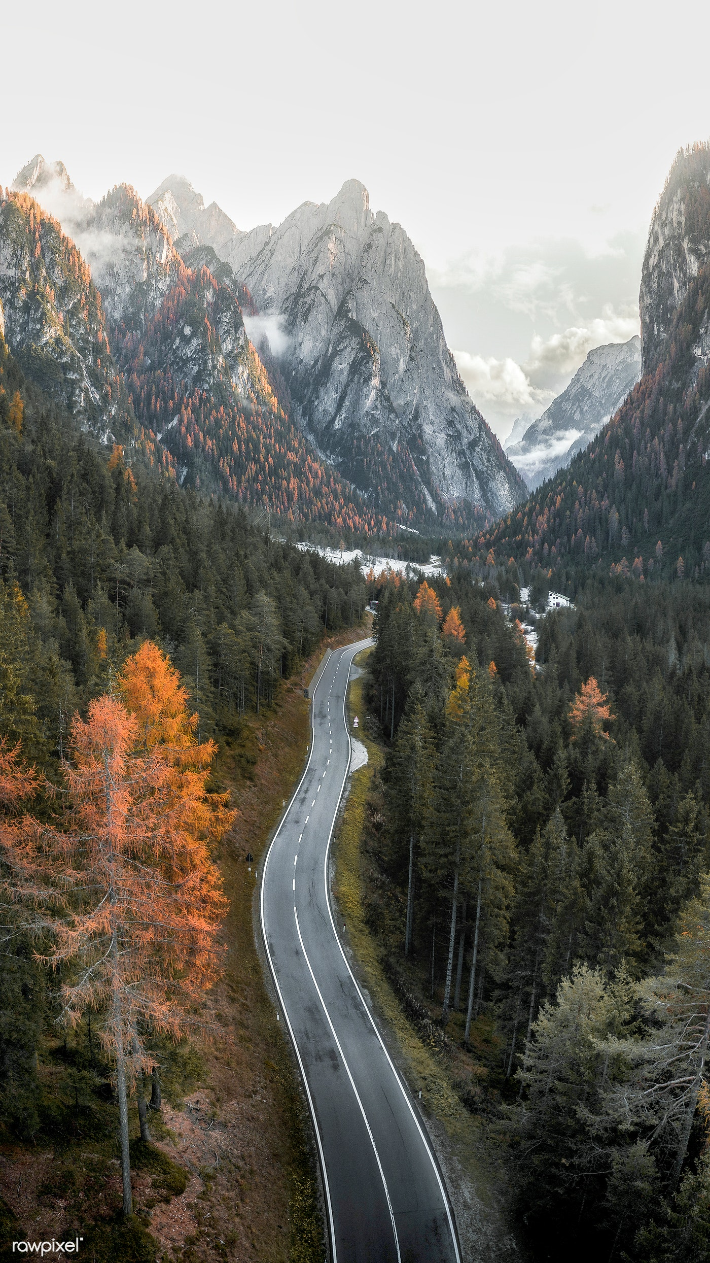 Road In Dolomites Valley Mobile Background Royalty Free Photo