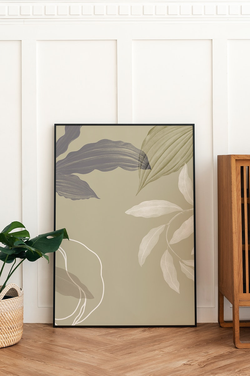 Blank picture frame mockup on parquet floor