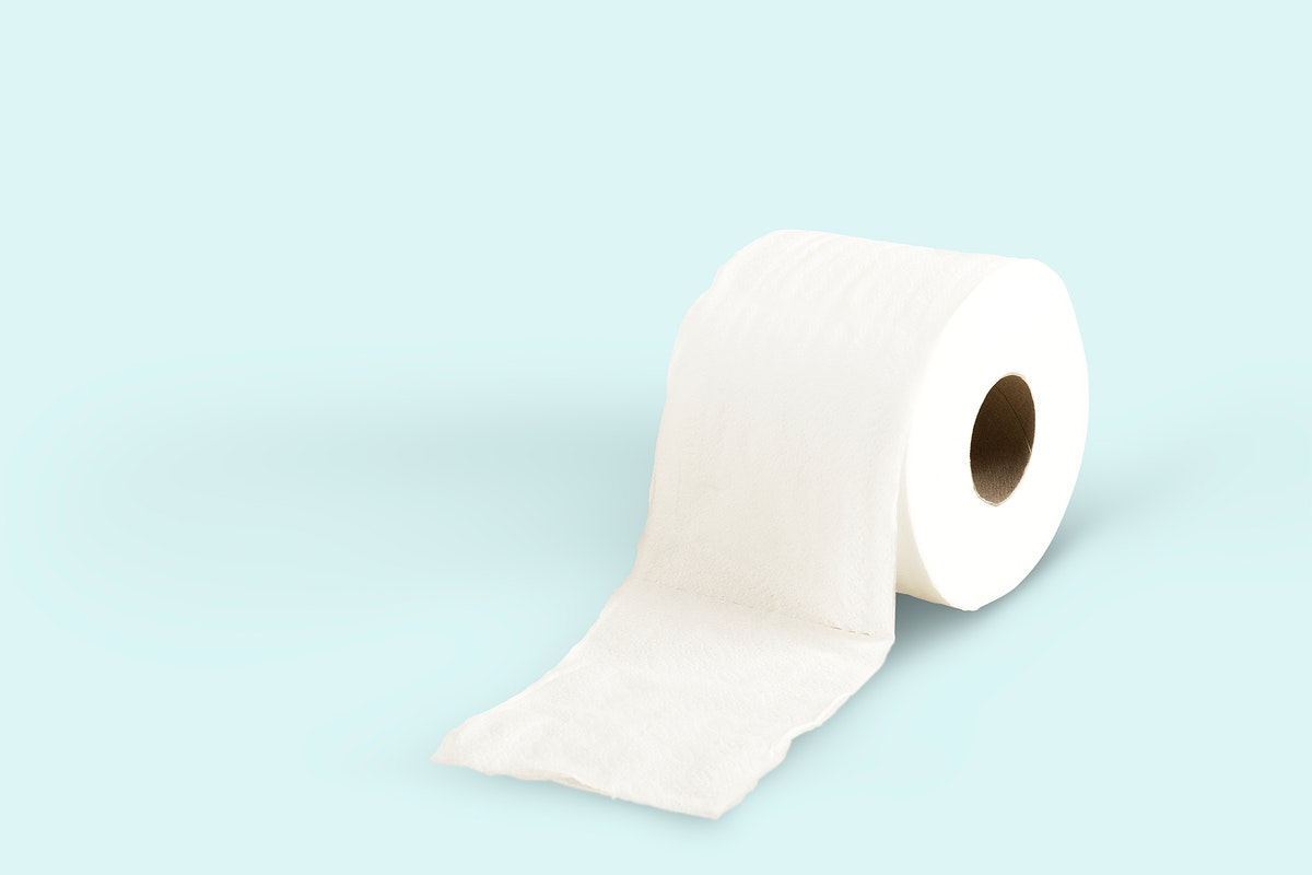 Toilet paper on a blue background