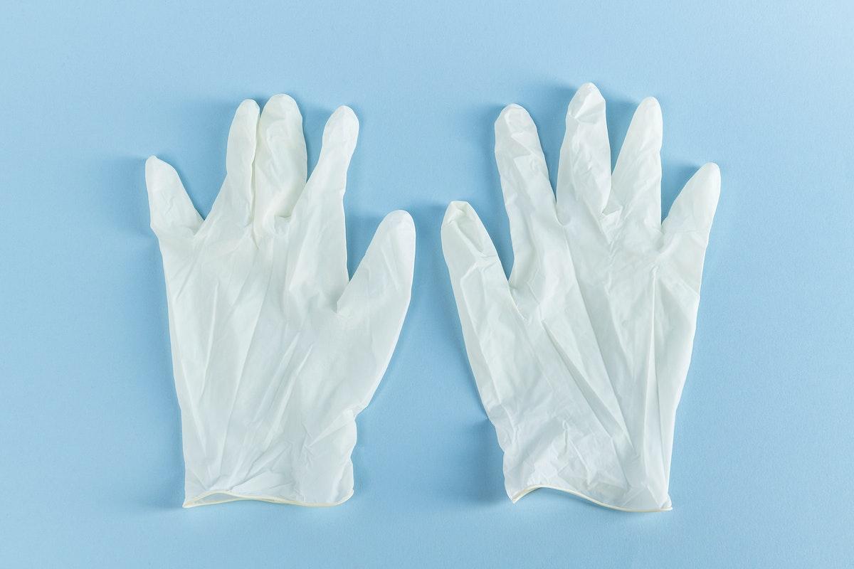 White latex gloves to prevent coronavirus contamination