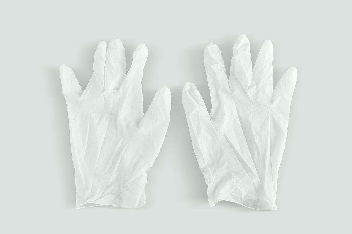 White latex gloves to prevent coronavirus contamination mockup