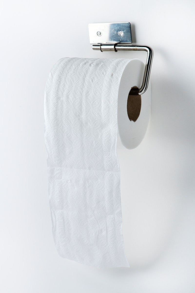 Toilet tissue roll on a holder