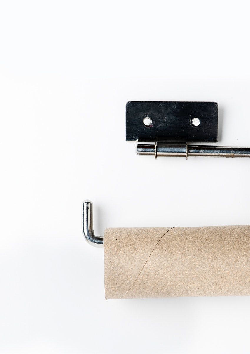 Empty toilet paper roll on a holder