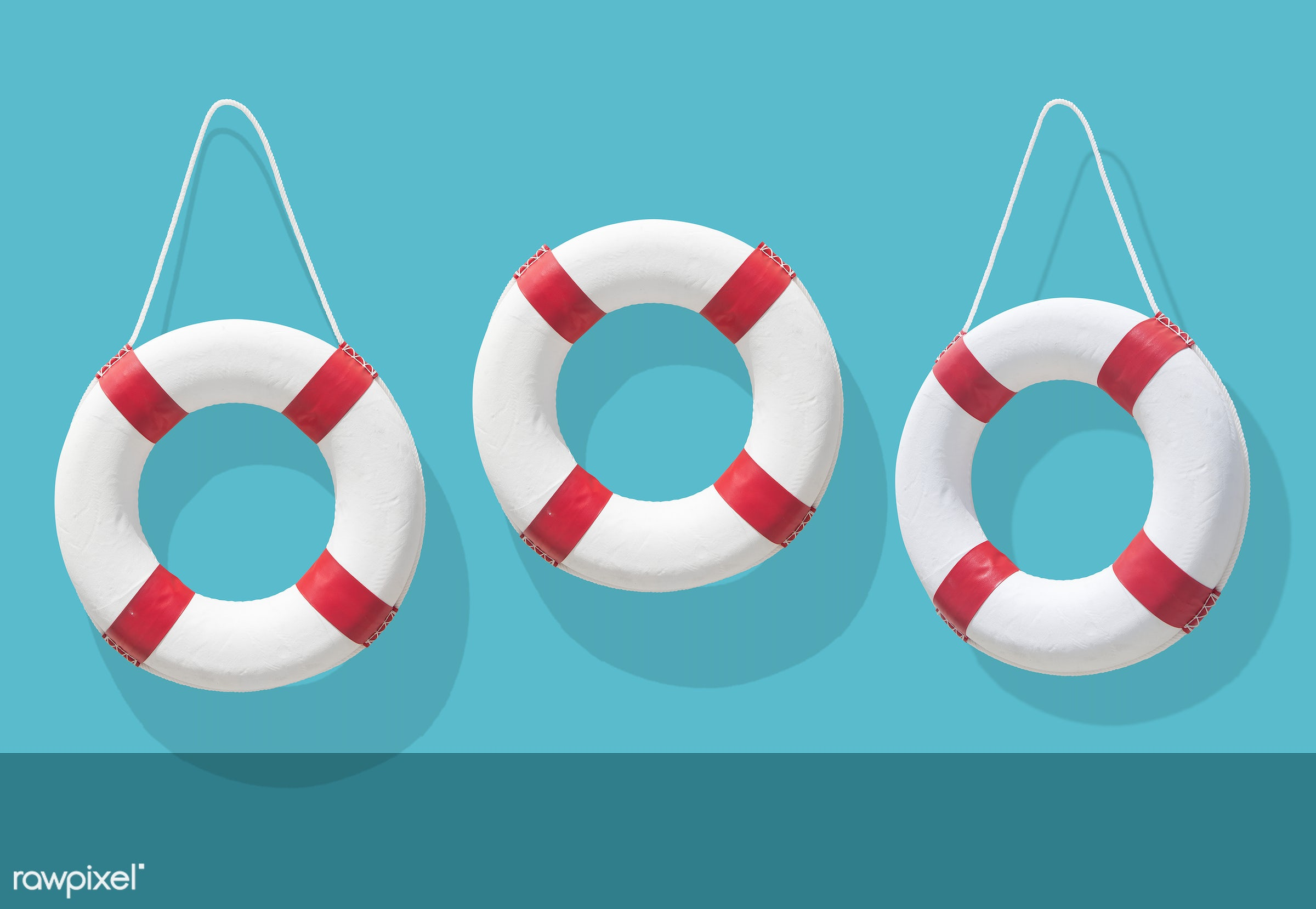 Life buoys on blue background illustration - safety, circle, emergency, float, life buoy, lifebelt, lifeguard, lifesaver,...
