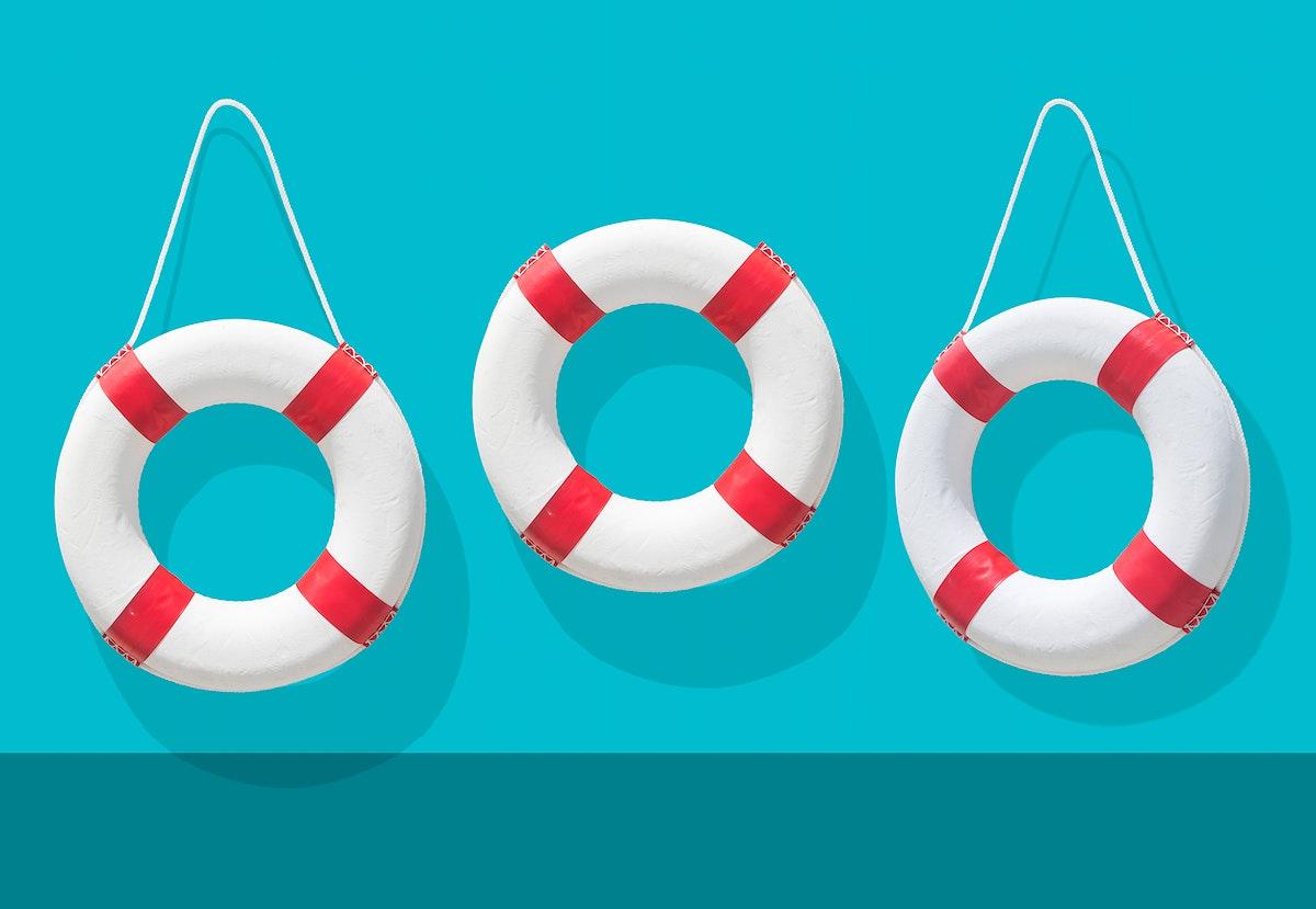 Life buoys on blue background illustration