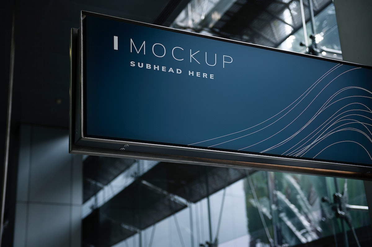 Blue signboard mockup in a mall