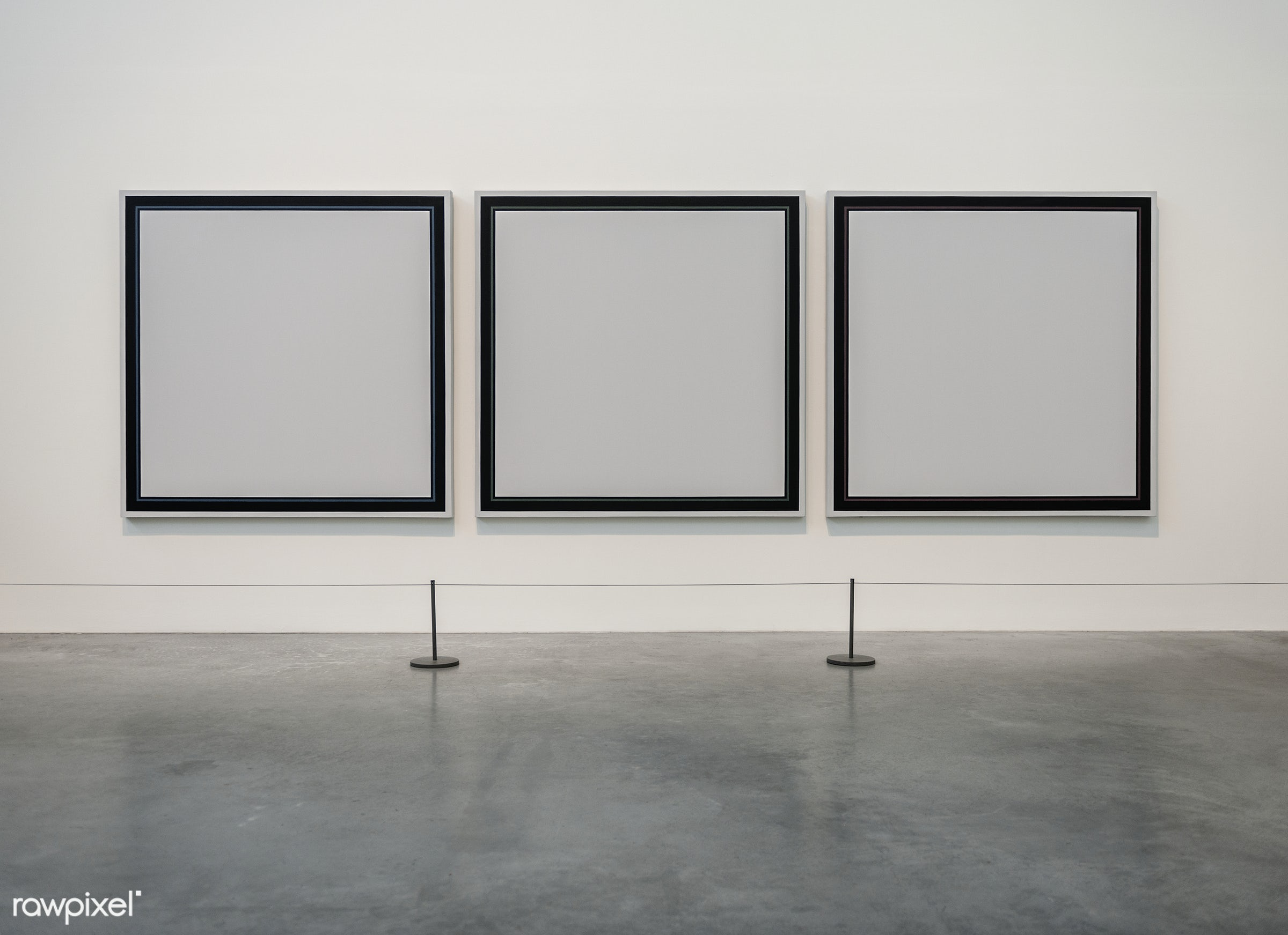 Three empty painting frames in an exhibition - frame, advertising, blank, mockup, ad, advert, announcement, banner,...