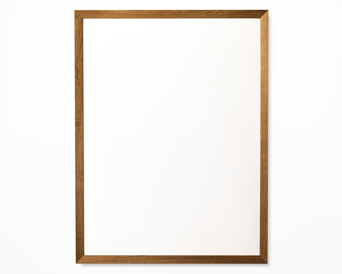 One photo frame isolated on white wall