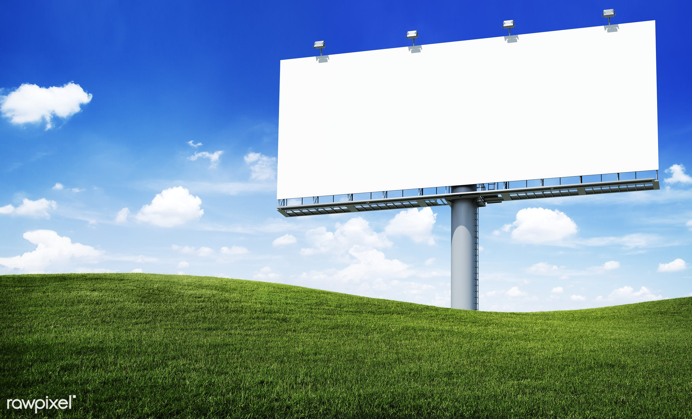 Large white blank billboard on a hill - banner, advertising, billboard, mockup, sky, ad, advert, announcement, blank, board...