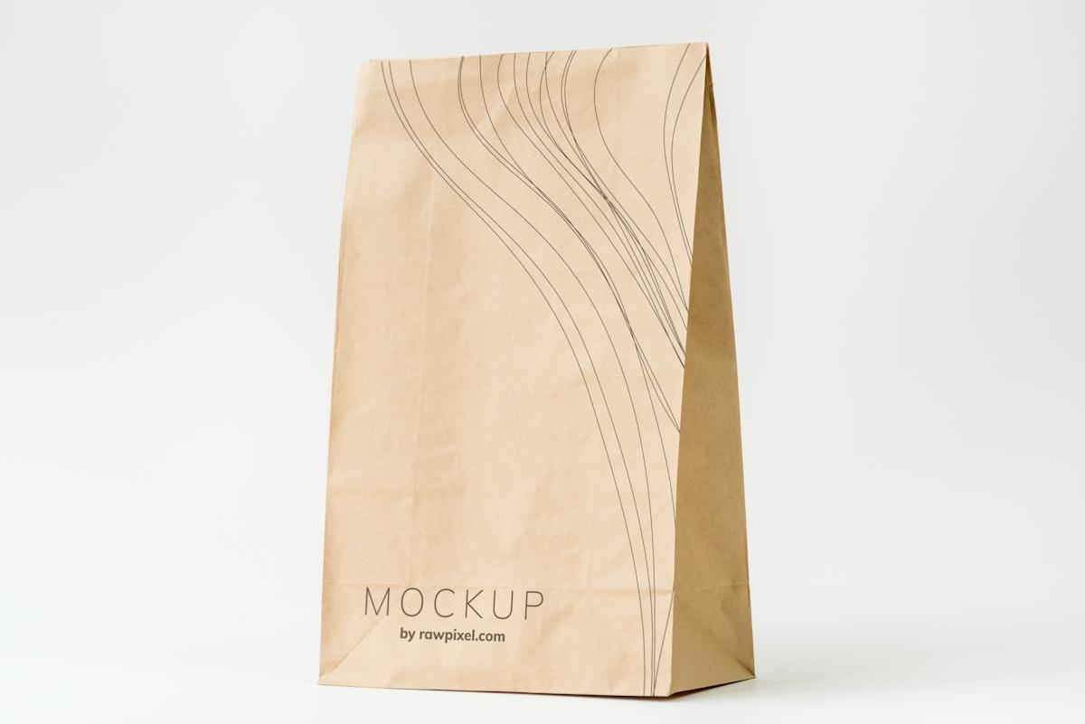 Paper bag mockup on white background