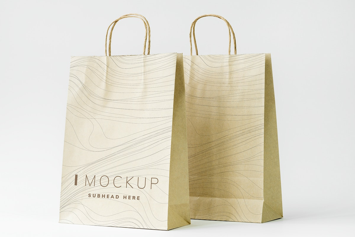 Paper bag mockup on the table