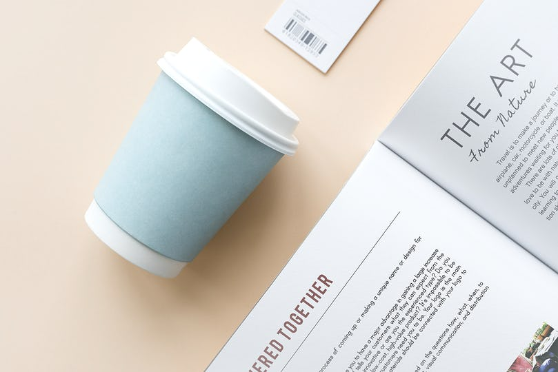 Coffee cup and book mockup