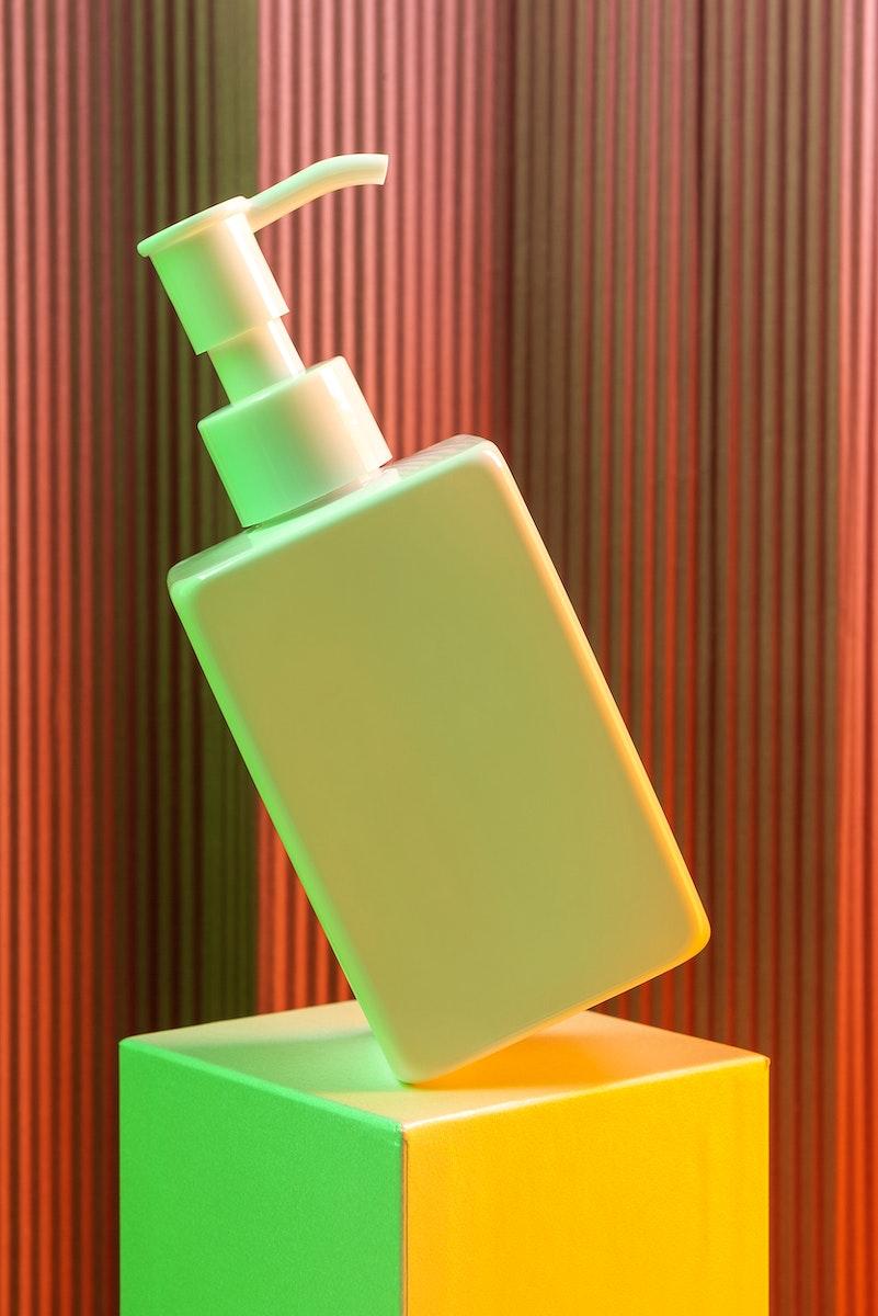 Blank white pump bottle with  neon light mockup