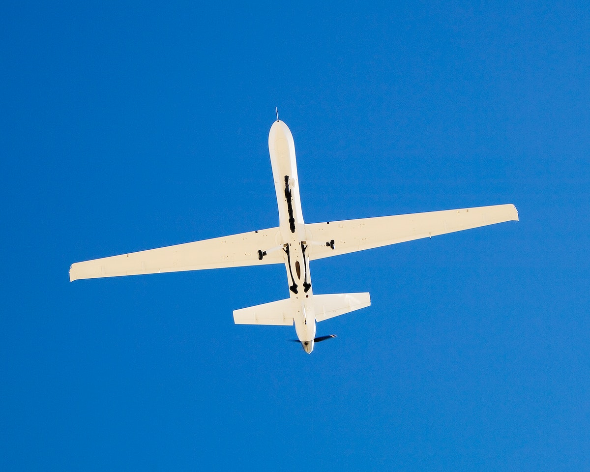 The narrow fuselage of NASA'S Ikhana unmanned science aircraft is evident in this view from underneath. Mar 5, 2007. Original…