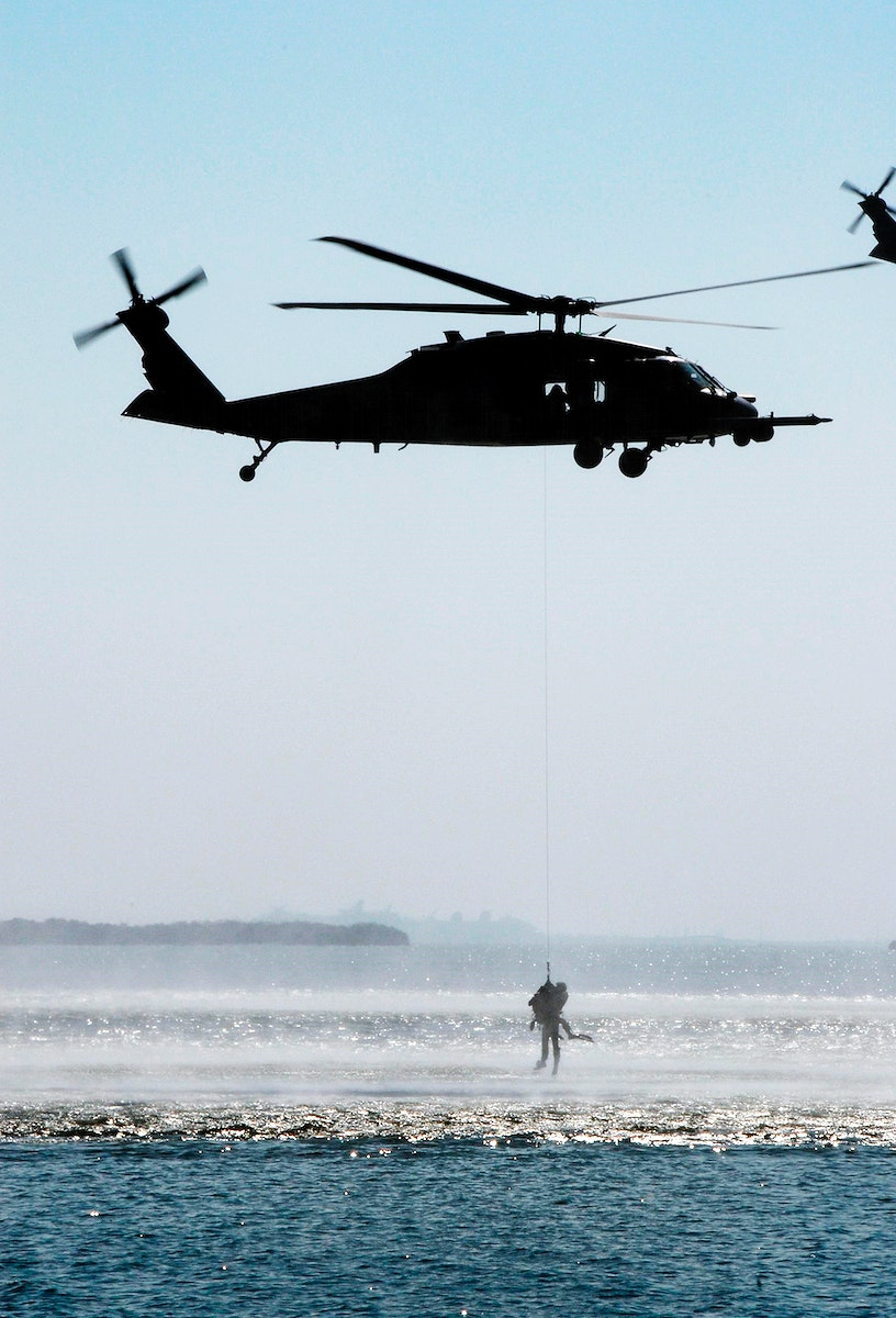 920th Rescue Wing puts on a rescue demonstration during the World Space Expo aerial salute near the NASA Causeway at NASA's…