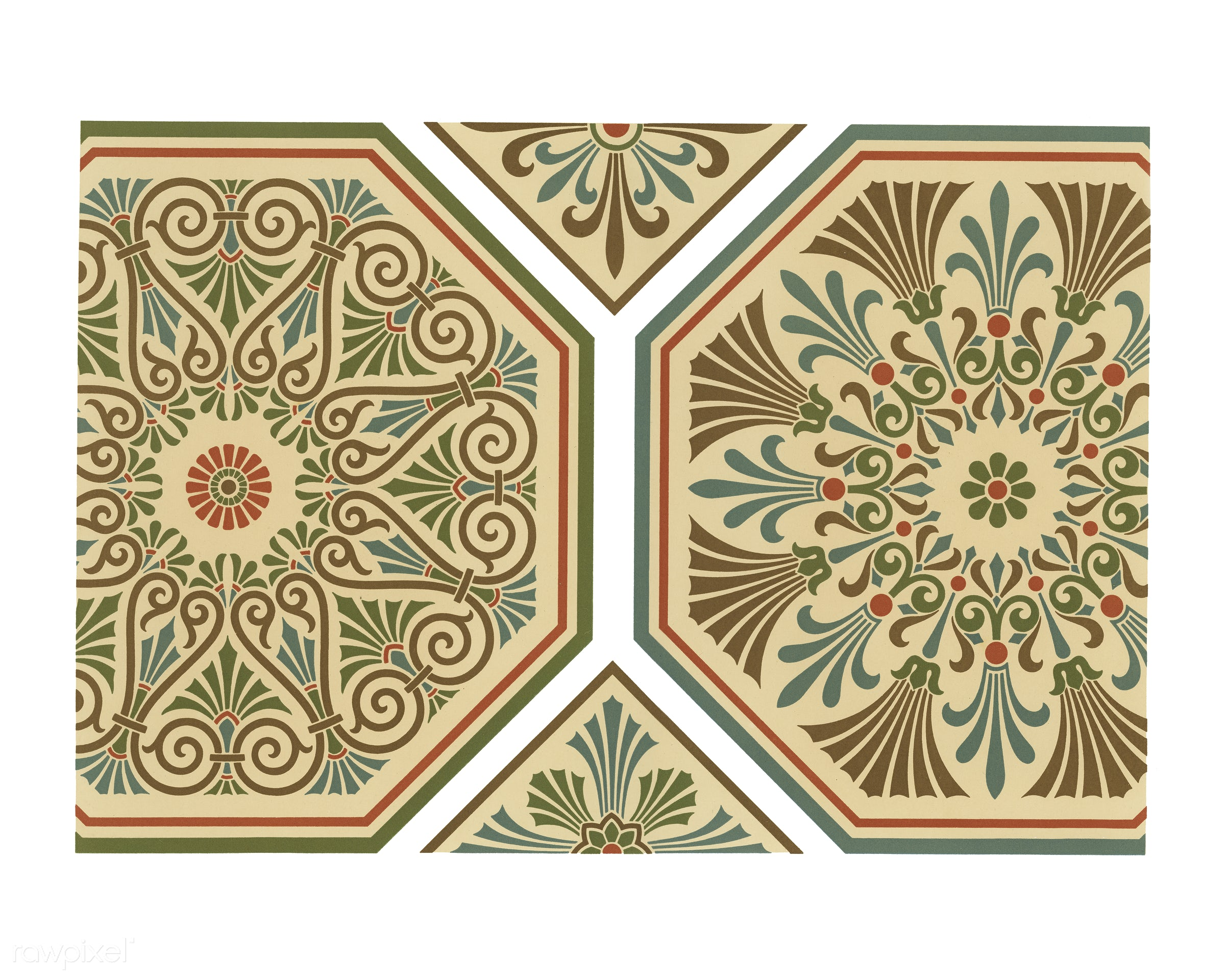 Renaissance pattern from The Practical Decorator and Ornamentist (1892) by G.A Audsley and M.A. Audsley. Digitally enhanced...