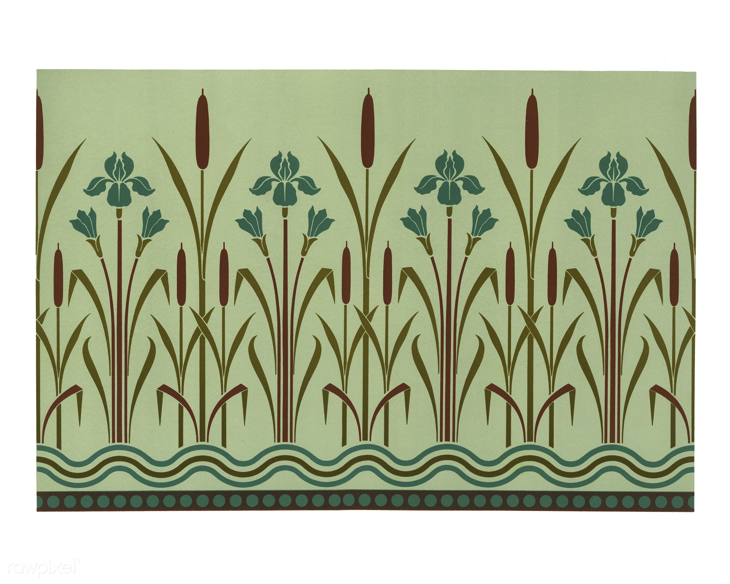 Floral pattern from The Practical Decorator and Ornamentist (1892) by G.A Audsley and M.A. Audsley. Digitally enhanced from...