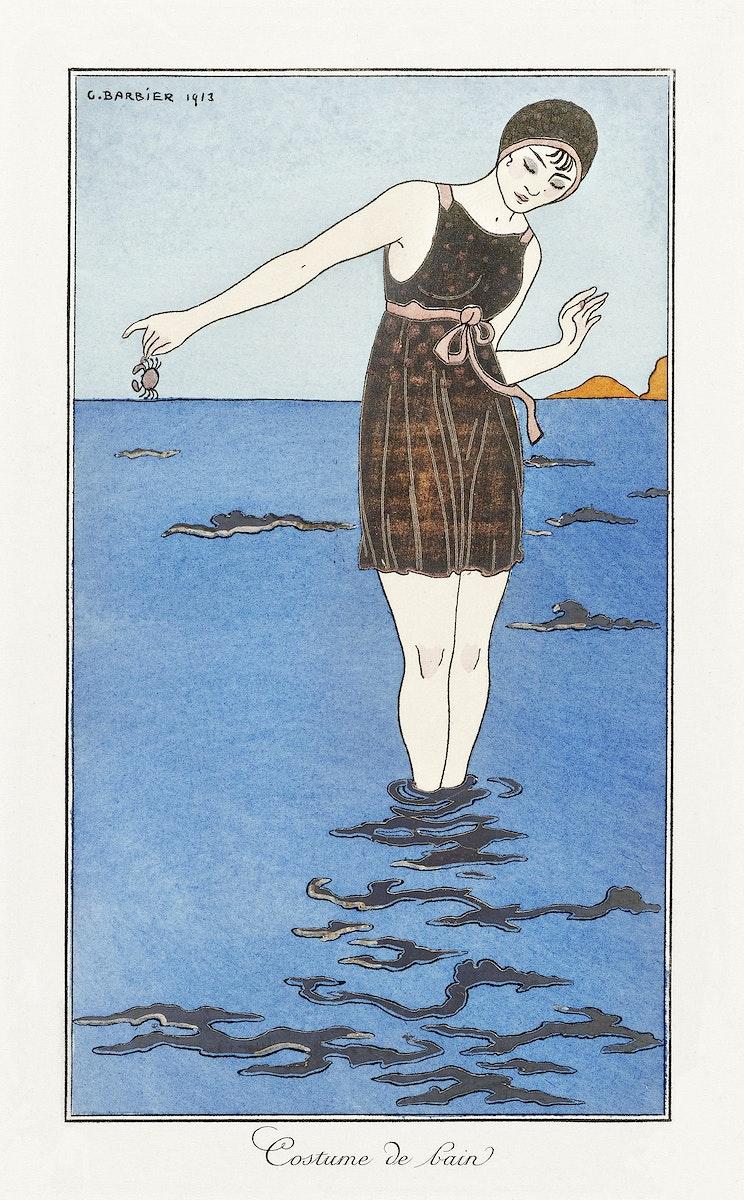 Costumes Parisiens: Grande robe du soir from Journal des Dames et des Modes (1913) fashion illustration in high resolution by…