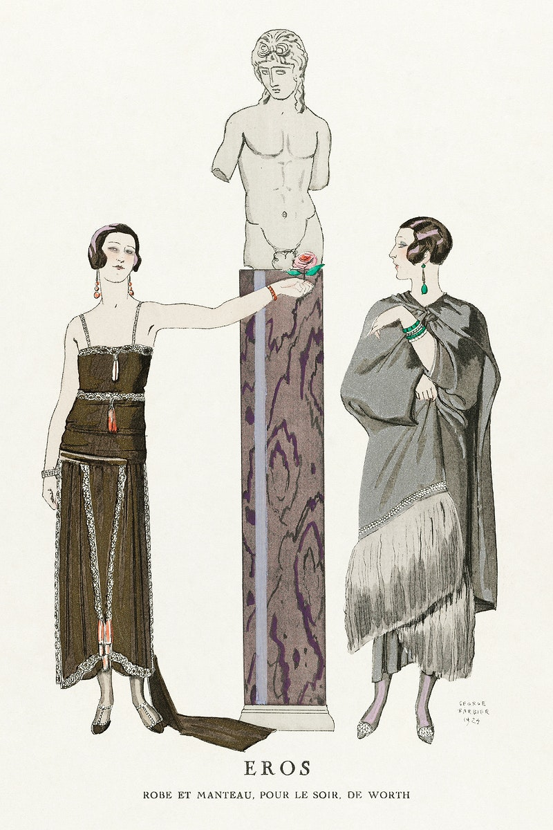 Eros / Robe et manteau, pour le soir, de Worth from Gazette du Bon Ton No. 9 (1924) fashion illustration in high resolution…