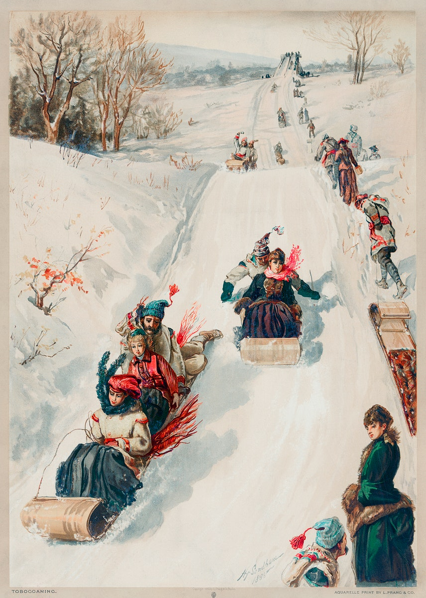 """""""Tobogganing"""" chromolithograph (1886) by L. Prang & Co. Original from Library of Congress. Digitally enhanced by rawpixel."""