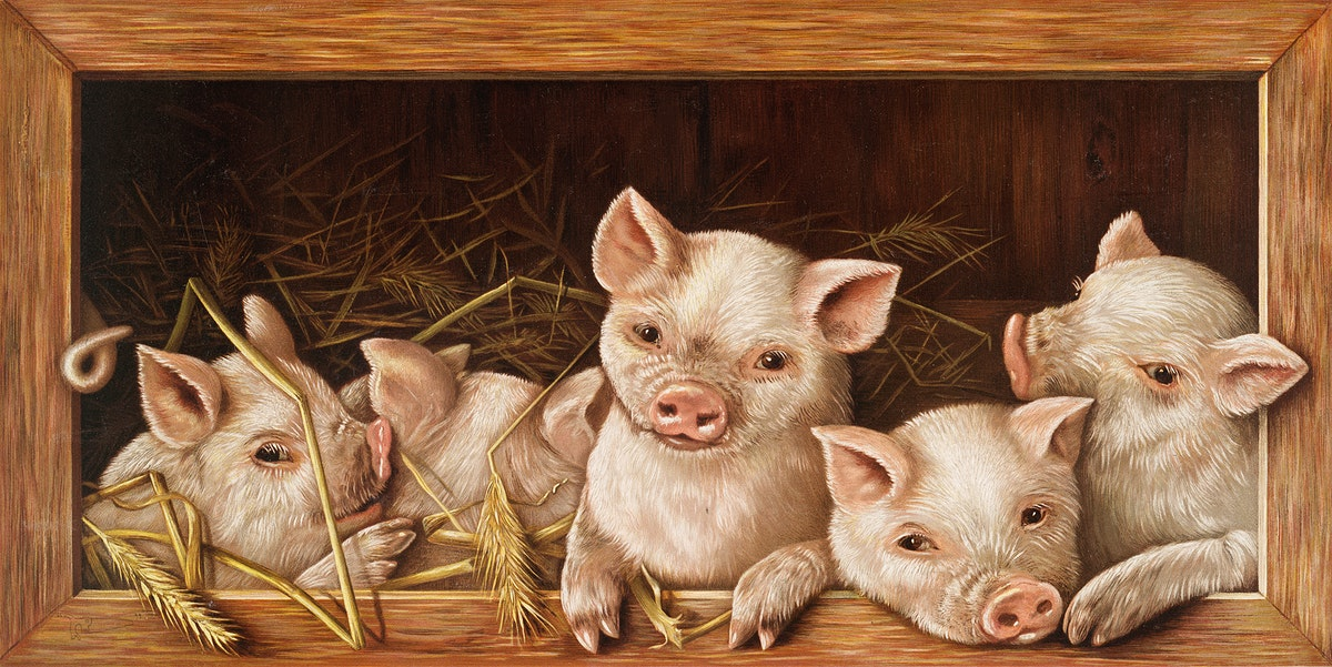 The Prize Piggies (Christmas and New Year card) (ca. 1865–1899) by L. Prang & Co. Original from the The New York Public…
