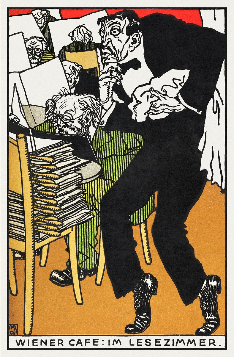 Vienesse Café: In the Reading Room (Wiener Café: Im Lesezimmer) (1911) print in high resolution by Moriz Jung.…