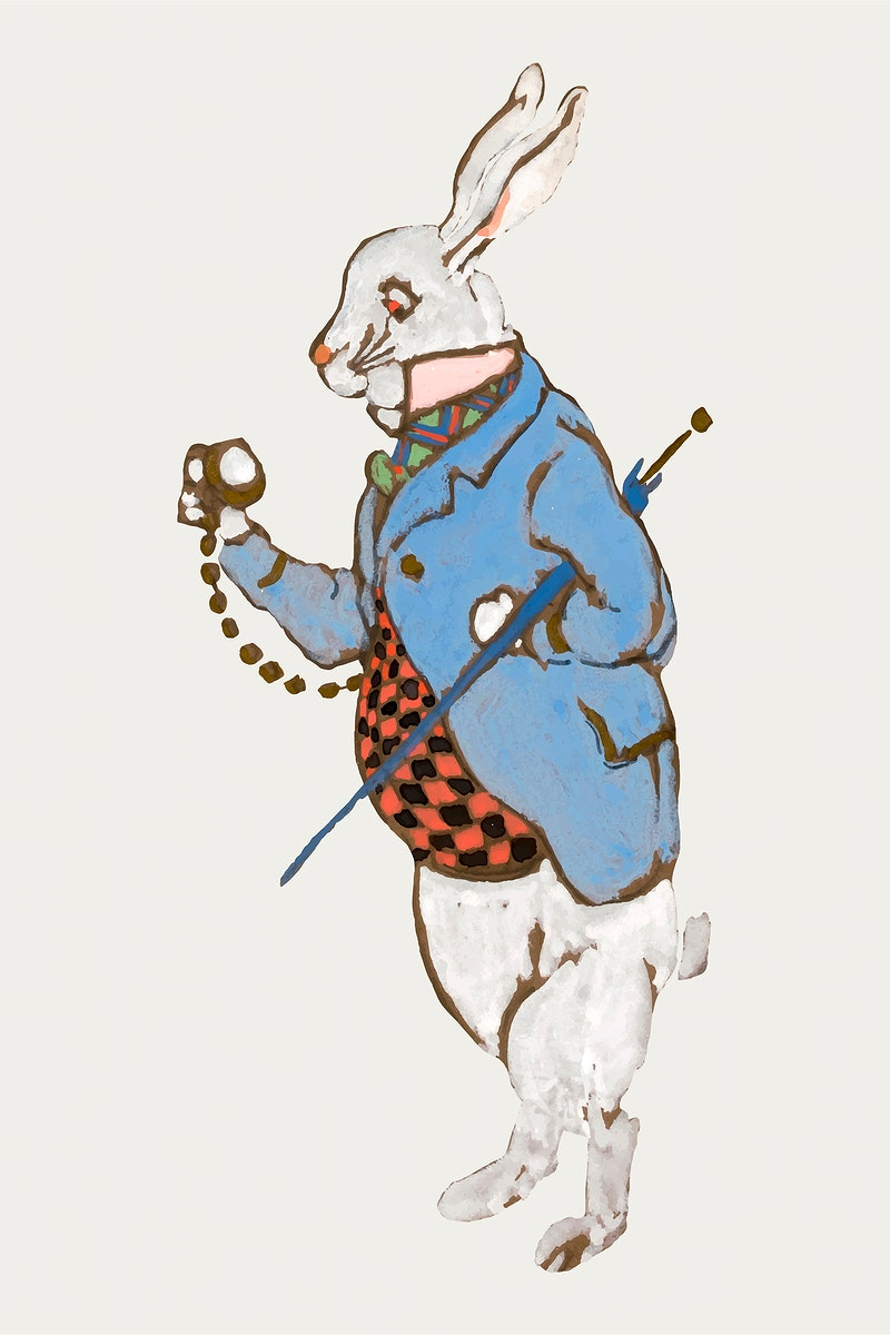 White Rabbit from Lewis Carroll's Alice's Adventures in Wonderland character illustration vector, remixed from…