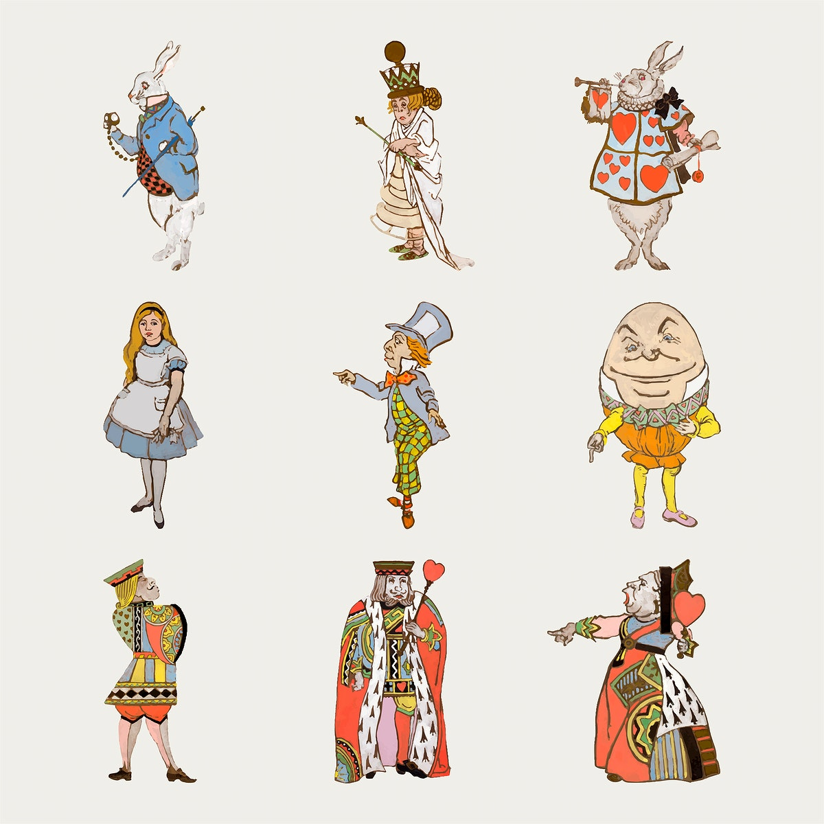Alice's Adventures in Wonderland vector by Lewis Carroll, character illustration set, remixed from artworks by William…