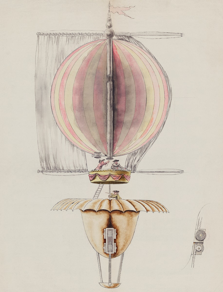 A watercolor drawing, proposed Design for Balloon Utilizin Sails for Propulsion, Paris (1783) by and unknown artist, the…