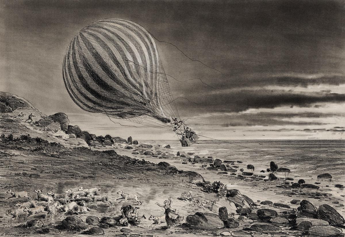 Descent of the balloon Neptune in the cliffs of Cap Gris-Nez baloon trip in Calais by Albert Tissandier. Original from…
