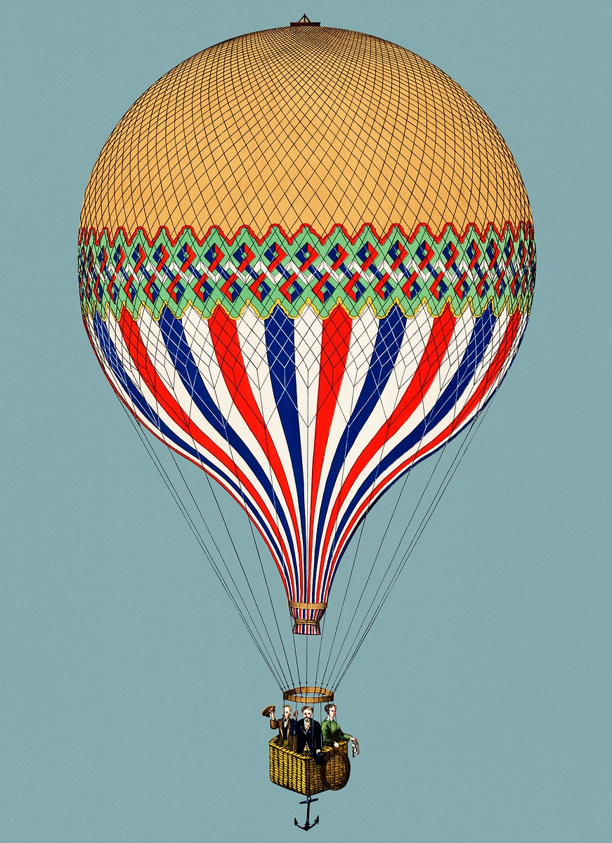 Vintage Illustration of The Tricolor with a French flag themed balloon ascension in Paris.
