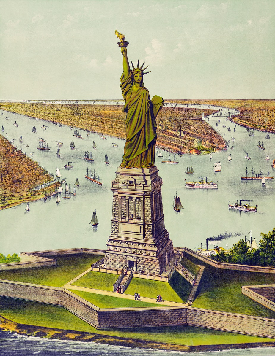 The Great Bartholdi Statue, Liberty Enlightening the World, published by Currier & Ives. Original from Library of Congress.…