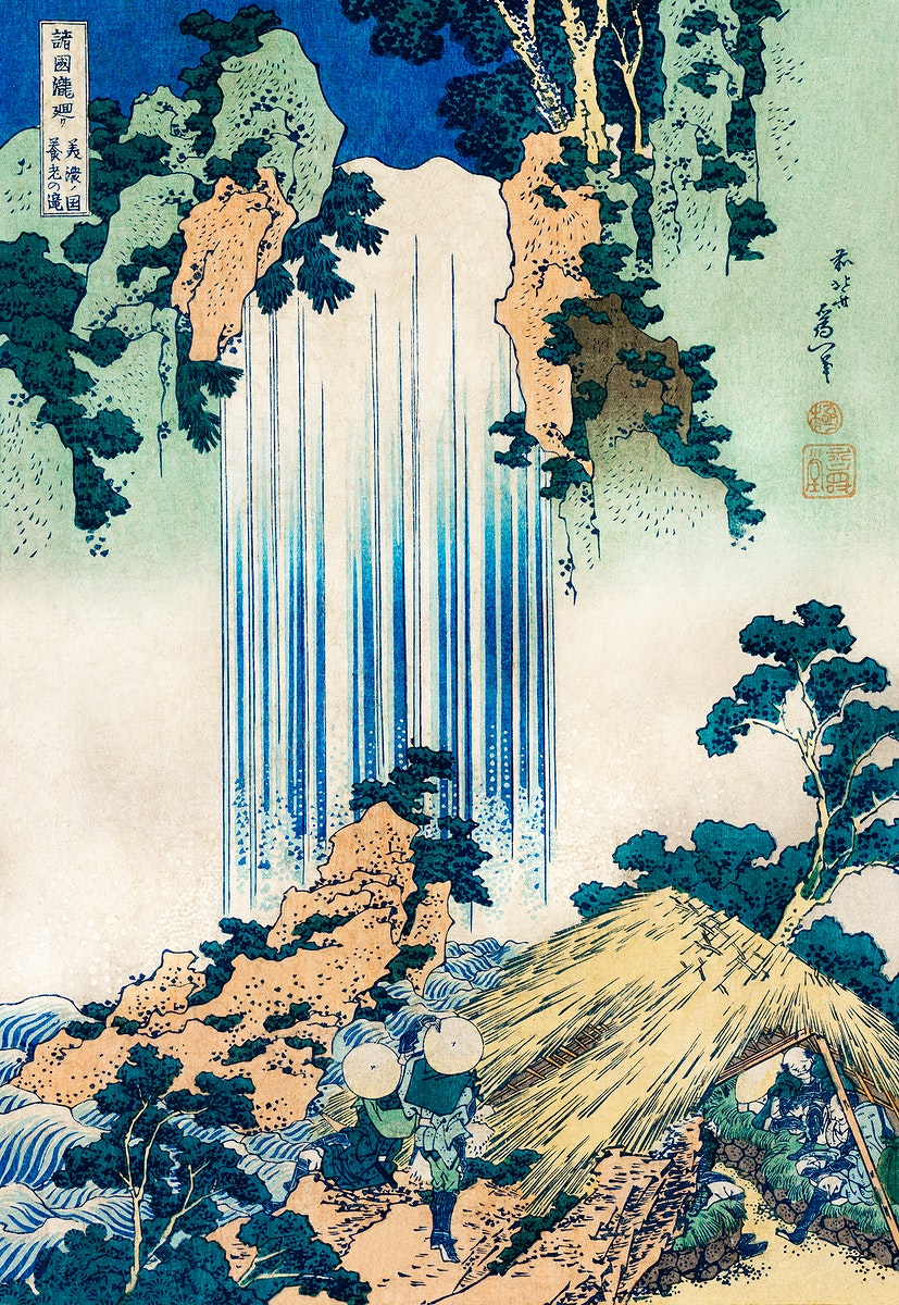 Yoro Waterfall in Mino Province by Katsushika Hokusai (1760-1849) a traditional Japanese Ukyio-e style illustration of two…
