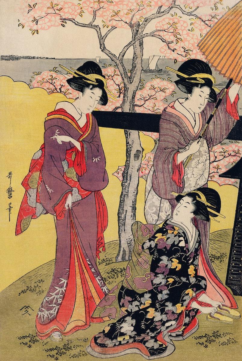 Gotenyama no Hanami Hidari by Utamaro Kitagawa (1753-1806), a print of a traditional Japanese women in an outing viewing…