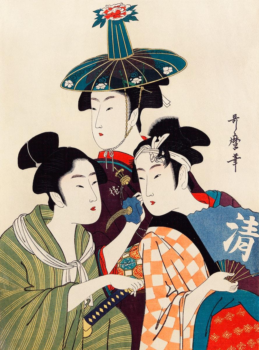 Three Young Men or Women by Utamaro Kitagawa (1753-1806), an ambiguous print of three traditional Japanese women or men…