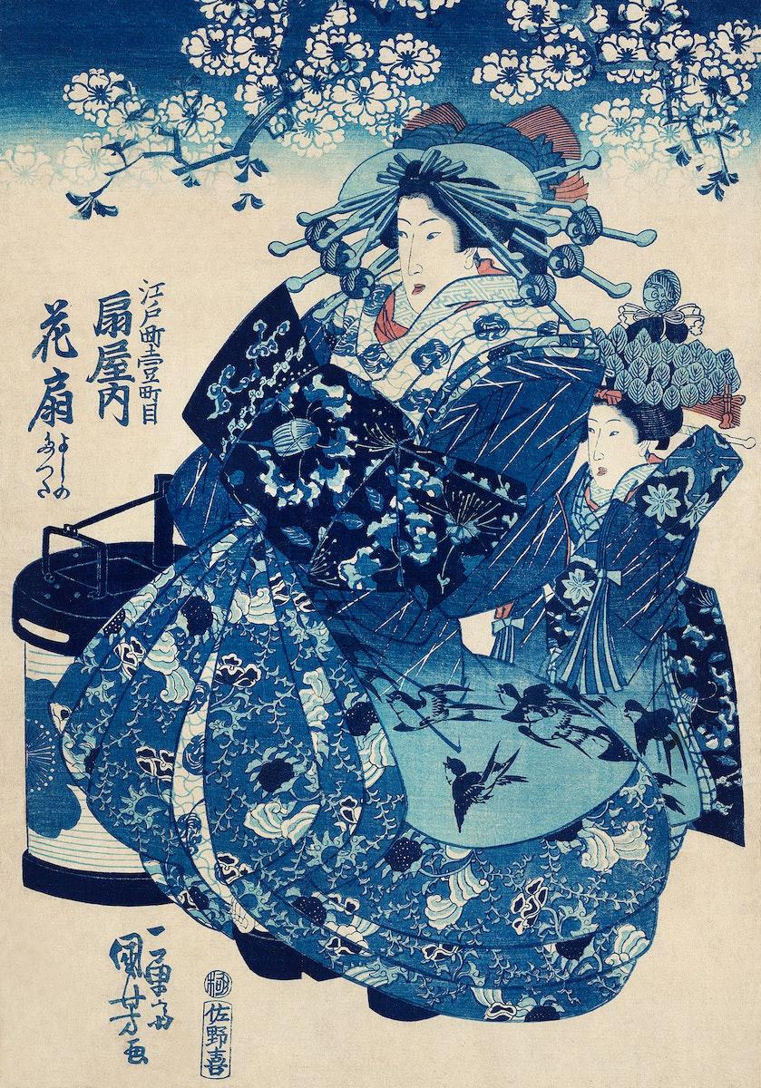 Ogiya uchi Hanaogi by Utagawa Kuniyoshi (1753-1806), translated The Courtesan Hanao of Ogi-ya, a traditional Japanese ukiyo-e…
