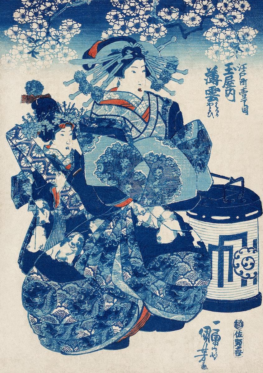 Tamaya uchi Usugumo by Utagawa Kuniyoshi (1753-1806), translated The Courtesan Hanao of Ogi-ya, a traditional Japanese ukiyo…