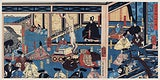"""Hyogo Chikuto Hitobashira no zu by <a href=""""https://www.rawpixel.com/search/Utagawa%20Yoshikazu?sort=curated&amp;page=1"""">Utagawa Yoshikazu</a>, published in 1852, a triptych of a man presenting a city plan to the emperor in the royal court along with ministers. Original from Library of Congress. Digitally enhanced by rawpixel."""