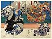 "Sato Norikiyo Nyudo Saigo Yoshinaka by <a href=""https://www.rawpixel.com/search/utagawa%20kuniyoshi?sort=curated&amp;page=1"">Utagawa Kuniyoshi</a> (1753-1806), a traditional Japanese ukiyo-e style diptych illustration of a traditional Japanese man role, Sato Norikiyo, fighting off men who try to stop him to become Saigyo, a Japanese priest."