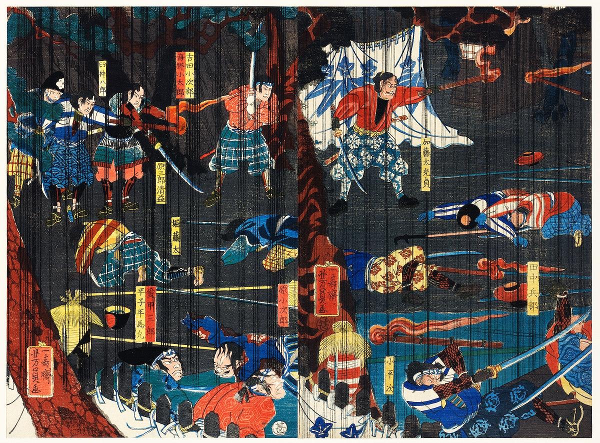 Soga no Adauchi by Utagawa Yoshikazu (1848-1863), a traditional Japanese ukiyo-e style diptych of a scene from a Soga kabuki…