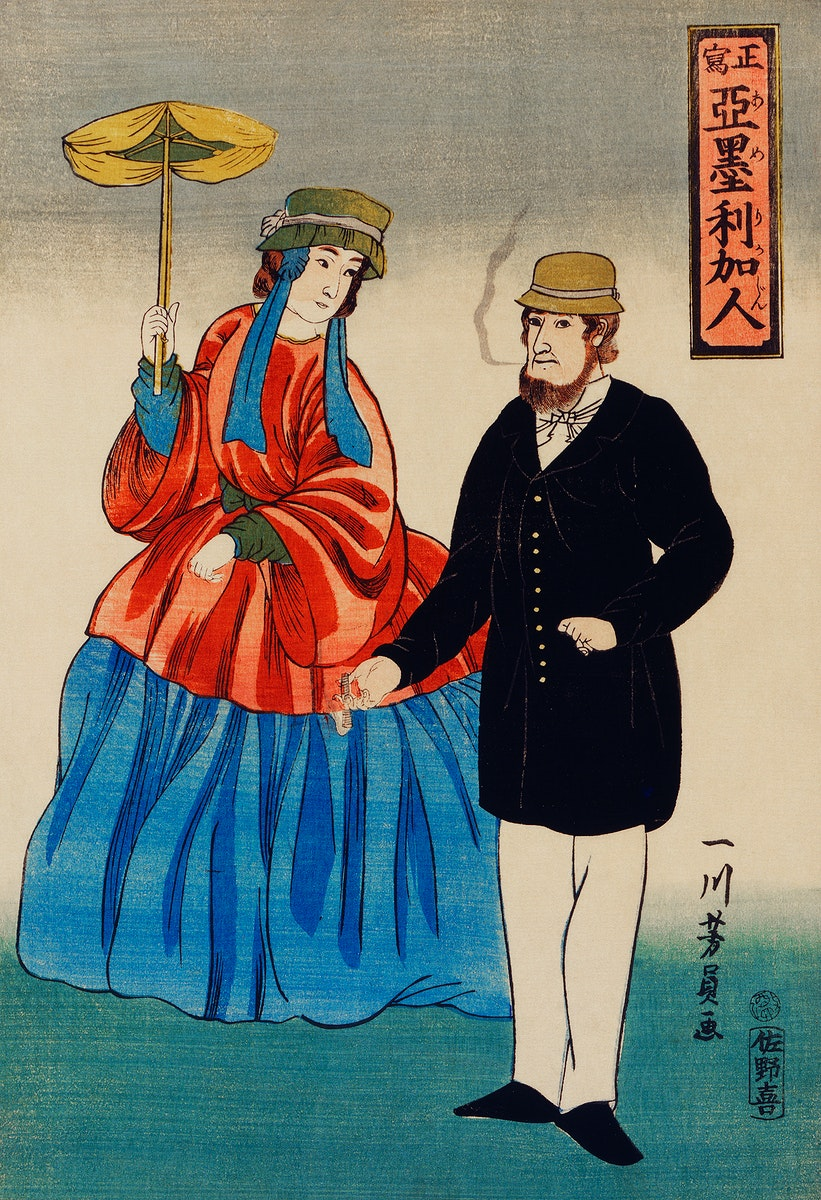 Shosha-Amerikajin by Utagawa Yoshikazu (1848-1863), a traditional Japanese illustration of a Japanese print showing an…