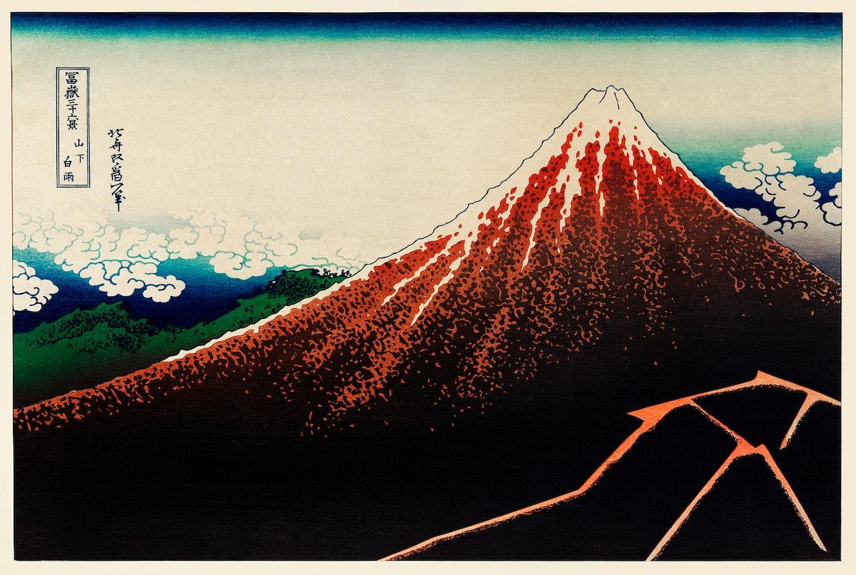 Sanka Hakuu by Katsushika Hokusai (1760-1849), meaning Shower below a summit, a traditional Japanese Ukyio-e style…