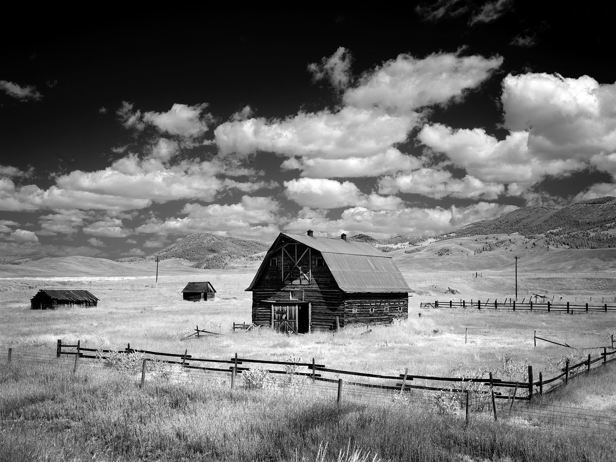 Infrared view of barn in rural Montana, USA. Original image from Carol M. Highsmith's America, Library of Congress…