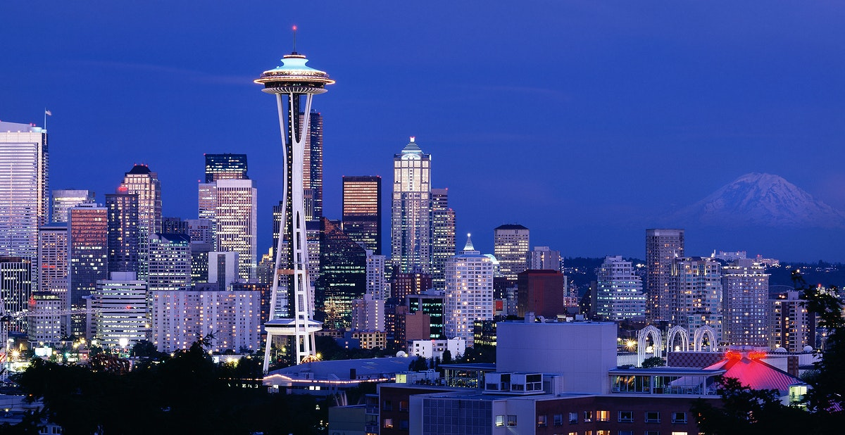 A Dusk View of the Seattle Skyline. Original image from Carol M. Highsmith's America, Library of Congress collection.…