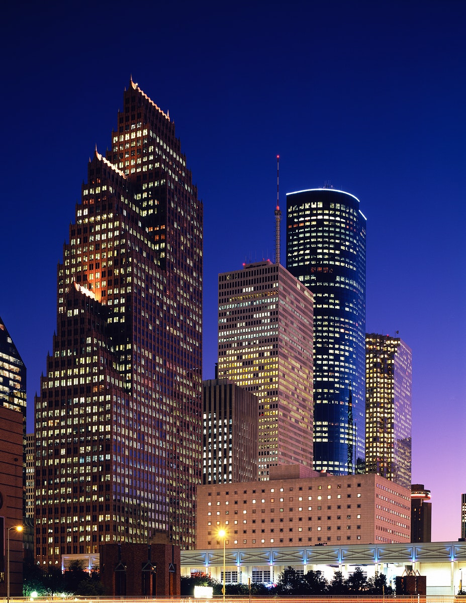 City of Houston by Night. Original image from Carol M. Highsmith's America, Library of Congress collection. Digitally…