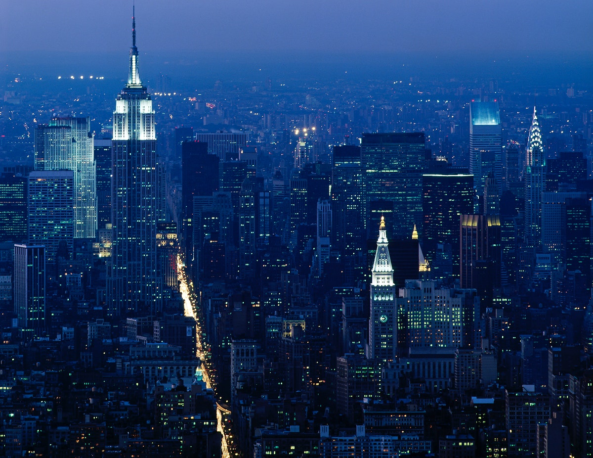 Empire State Building at night. View from the World Trade Center during the 1980s. Original image from Carol M.…