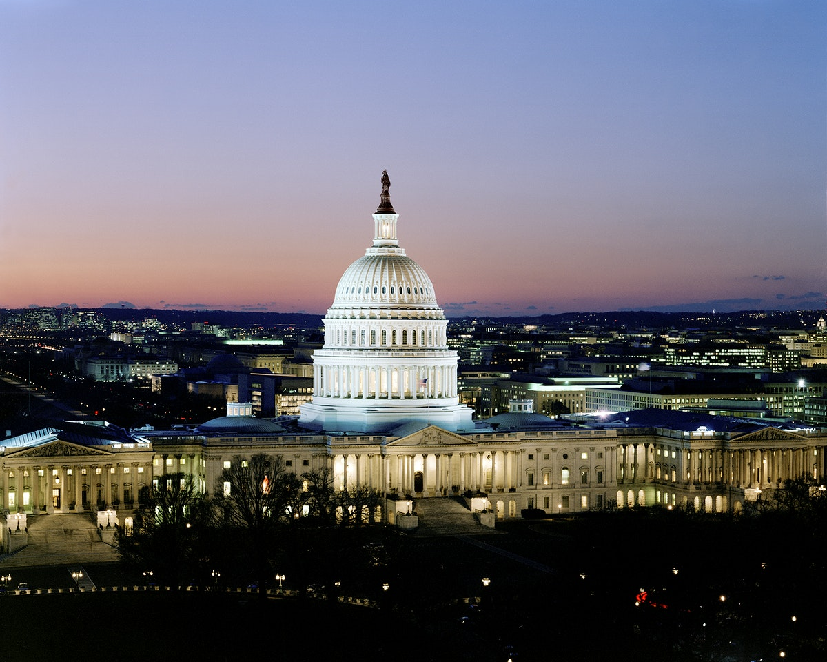 Capitol Hill at night. Original image from Carol M. Highsmith's America, Library of Congress collection. Digitally enhanced…