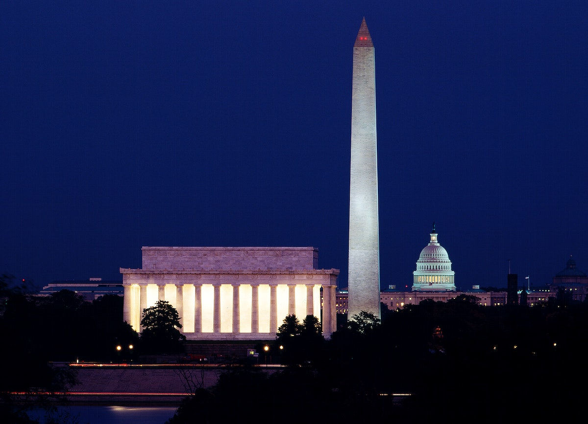 Our Treasured Washington Monuments at Night. Original image from Carol M. Highsmith's America, Library of Congress…